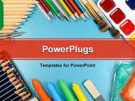 PowerPoint template displaying school and office supplies frame on blue background back to school