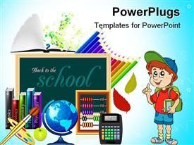 PowerPoint template displaying school vector realistic icon