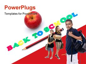 PowerPoint template displaying words BACK TO SCHOOL written with colorful foam letters with healthy apple and pencil in the background.