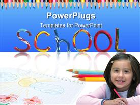 Writing School from color plasticine with child's drawing and pencils template for powerpoint