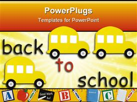 PowerPoint template displaying yellow school bus with a ruler making a border