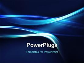 PowerPoint template displaying abstract electric blue curves on dark background