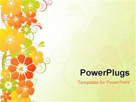 PowerPoint template displaying red, yellow, orange, and green flowers on plain off white background