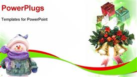 PowerPoint template displaying background with traditional Christmas decoration ornament