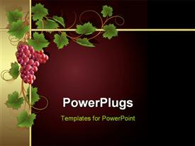 PowerPoint template displaying claret background with frame from gold vine