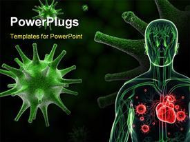 PowerPoint template displaying flu virus in color background