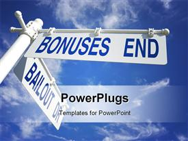 PowerPoint template displaying white signpost showing directions to BONUSES END and BAILOUT DR