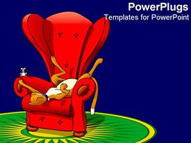 PowerPoint template displaying a cat lying on a chair along with a mouse