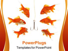 PowerPoint template displaying goldfishes looking to the fishhook in the fishbowl in the background.