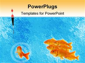 Leadership : goldfish taking the bait powerpoint template