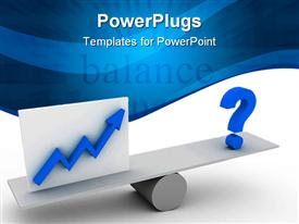 PowerPoint template displaying a balance with bluish background and place for text