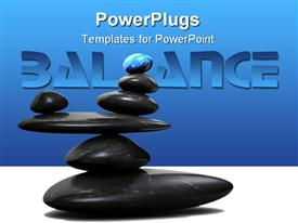 PowerPoint template displaying blue stone sitting in balance on other black stones in the background.