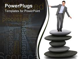 PowerPoint template displaying man in suit balancing on pile of spa stones