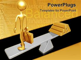 PowerPoint template displaying a gold colored 3D human character standing on a scale with gold bars
