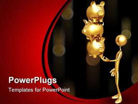 PowerPoint template displaying a gold colored character holding three golden piggy banks