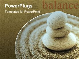 PowerPoint template displaying macro of three staked stones on raked sand