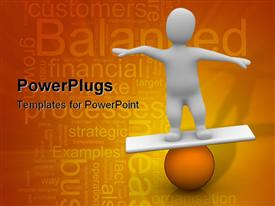 PowerPoint template displaying man balancing on orange ball. 3D depiction in the background.