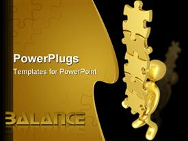 PowerPoint template displaying gold colored human figure holding a stack of puzzles