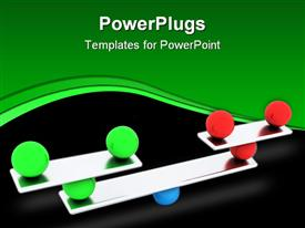 PowerPoint template displaying red, green and blue balls carefully balanced on a silver scale