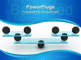 PowerPoint template displaying balanced financial organization depicted with black spheres balancing glass sheets