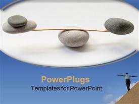 PowerPoint template displaying stone balance in the background.