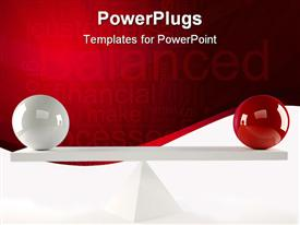 White and a red sphere sitting in balance powerpoint design layout