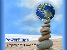 PowerPoint template displaying planet Earth or the World and six rocks or pebbles stacked and balanced on top of one another in the background.