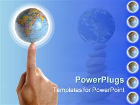 Got the world at his finger tips. Hand with the planet earth on a finger tip powerpoint theme