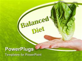 Hand over white balancing a lettuce as a balanced diet powerpoint theme