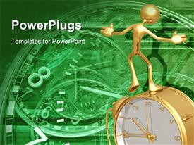 PowerPoint template displaying gold man on clock metaphor old fashioned working gears time green background