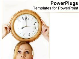 Woman balances a clock on her head powerpoint design layout
