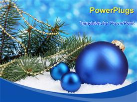 PowerPoint template displaying a lot of celebration balls with bluish background