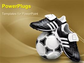 PowerPoint template displaying black and white soccer ball with sports boot on beautiful surface