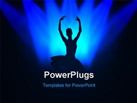 Ballerina who dances on a black background under light of projectors  - ballroom ppt template