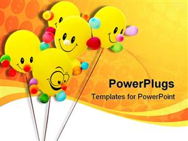 Happy smiling colorful balloon template for powerpoint