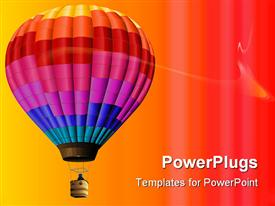 Rainbow-colored hot air balloon perfect for backgrounds powerpoint template