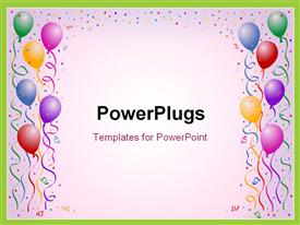 PowerPoint template displaying multicolored birthday balloons with confetti on the white background