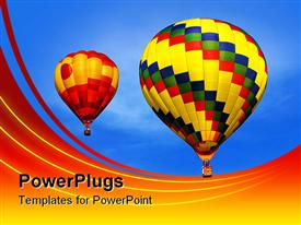 PowerPoint template displaying multicolored hot air balloons drifting across clear blue sky