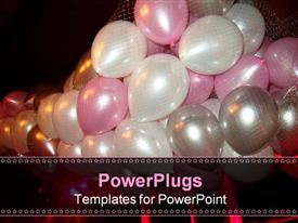 Floating party balloons in net during nightclub event powerpoint template