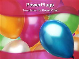 Full color balloons cover the background. Holiday powerpoint design layout
