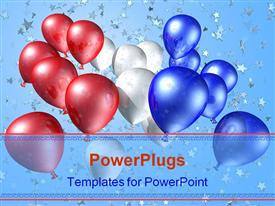 Red white and blue balloons flying free towards a starry sky powerpoint theme