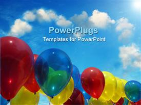 Row of multi-colored balloons floating against a clear blue sky powerpoint template