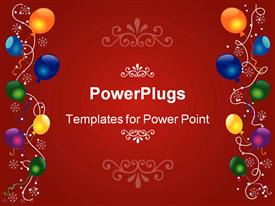 PowerPoint template displaying christmas red background with balloons and snowflakes