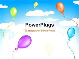 Bright multicolored balloons flying in the sky powerpoint theme