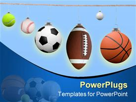 PowerPoint template displaying different sport balls hanging by a spring from a cloth line