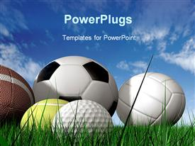 Sports balls on the grass made in 3D template for powerpoint