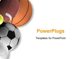 PowerPoint template displaying five different types of sport balls on a white background