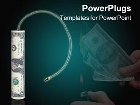 PowerPoint template displaying dollar shaped like a firecracker