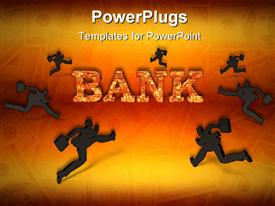 PowerPoint template displaying word bank written in brick letters and black silhouettes running to the bank on money bills orange background