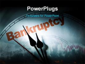 PowerPoint template displaying crisis depiction with downward chart and clock face at bankruptcy